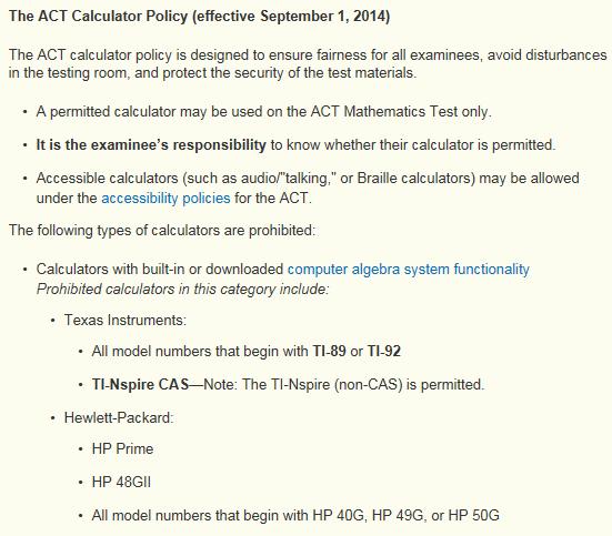 ACT acceptable calculators 1