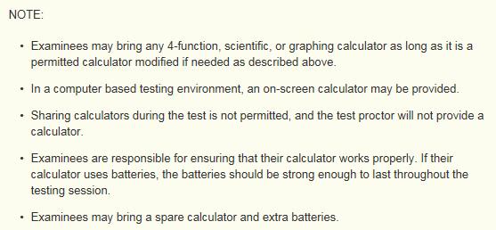 ACT acceptable calculators 3
